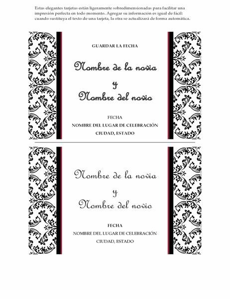 Invitación de boda Resérvate la fecha (diseño Boda en blanco y negro)