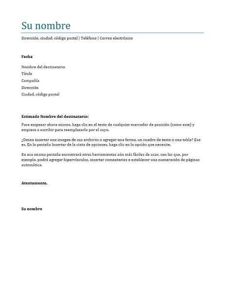 Carta de presentación (azul)