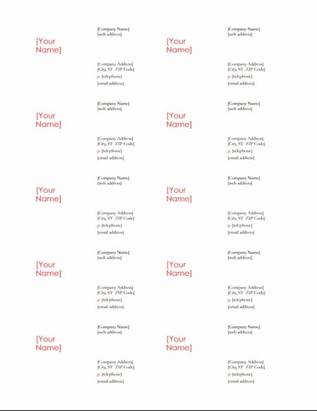 Tarjetas de presentación (diseño Rojo, 10 por página)
