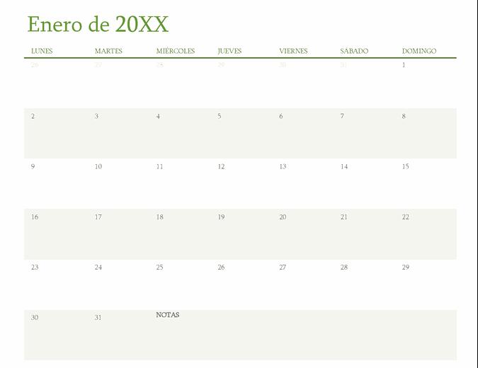 Calendario de cualquier año (1 mes por pestaña)