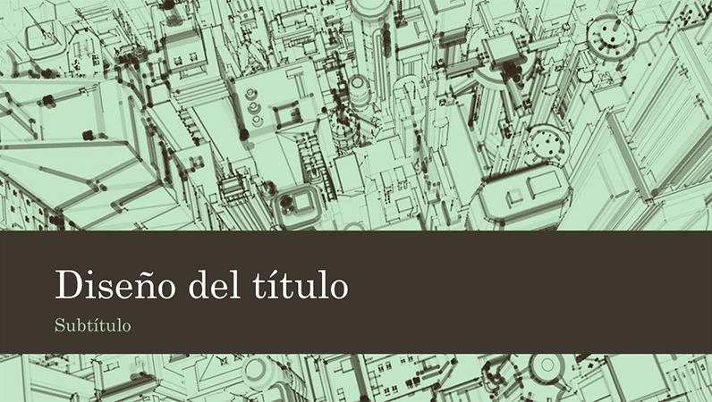 Fondo de presentación de un boceto de una ciudad con oficinas (pantalla panorámica)