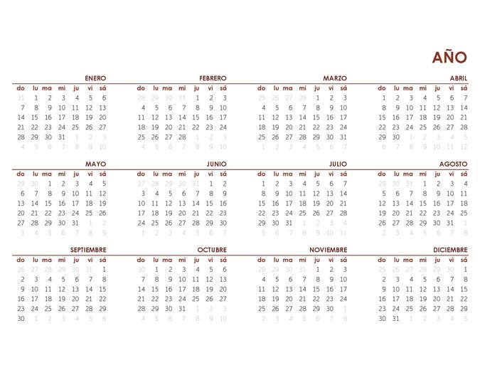 Calendario global de todo el año