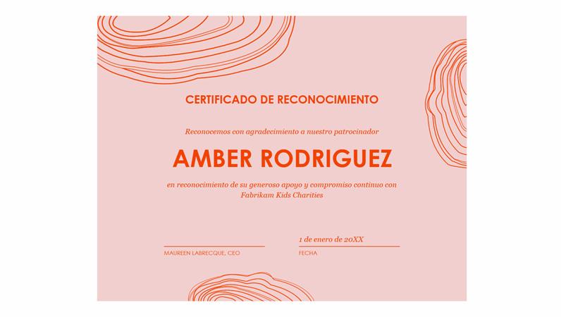 Certificado de reconocimiento para patrocinadores