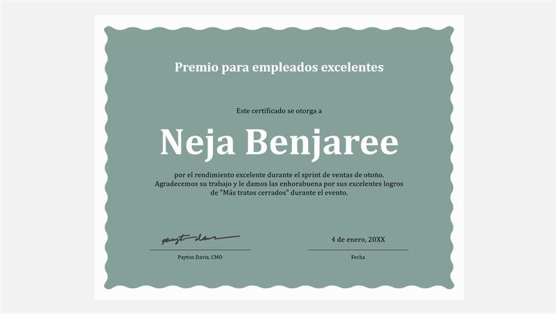 Certificado de excelencia para empleados