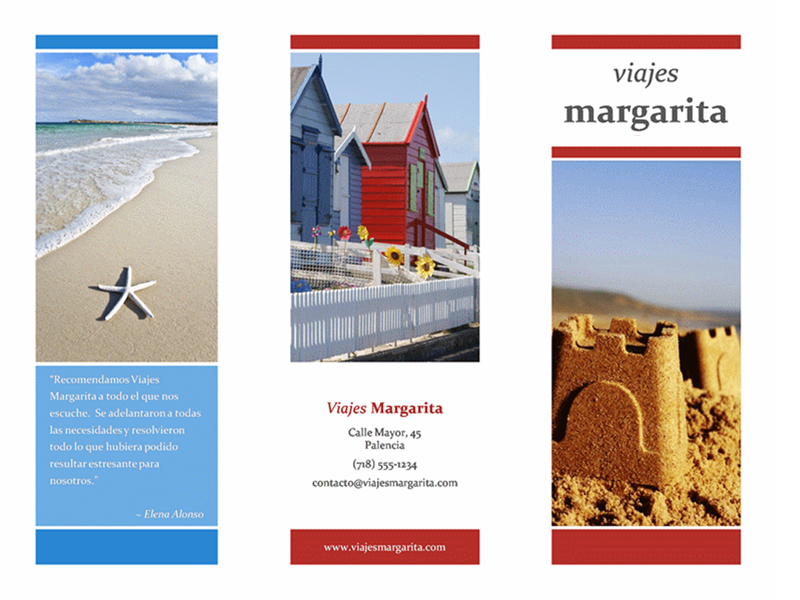 Tríptico de viajes (diseño rojo, dorado y azul)