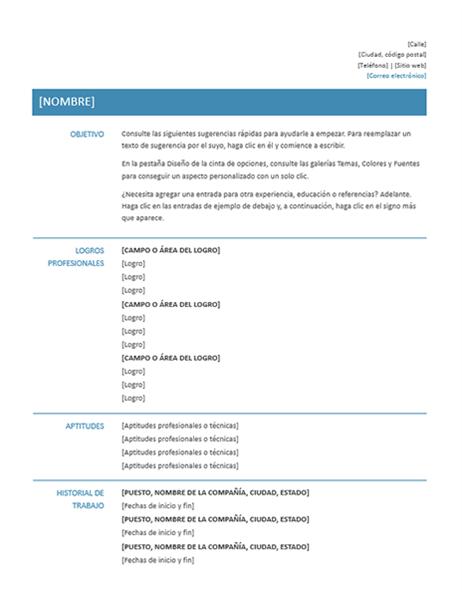 Currículum vitae funcional (diseño sencillo)