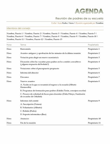 Agenda de la reunión de padres