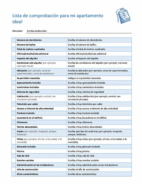 Lista de comprobación para elegir mi apartamento ideal