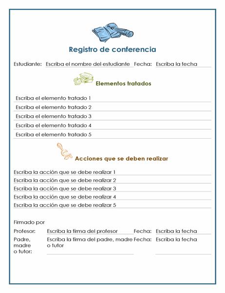 Registro de conferencia de padres y docentes