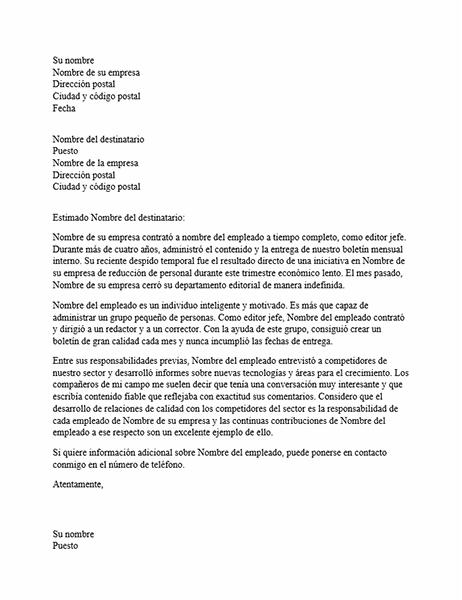 Carta de recomendación para empleado profesional