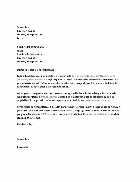 Carta para solicitar una entrevista informativa