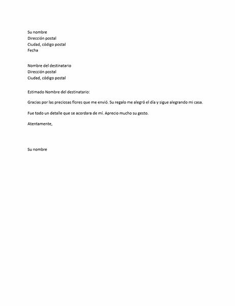 Carta de agradecimiento por un regalo personal