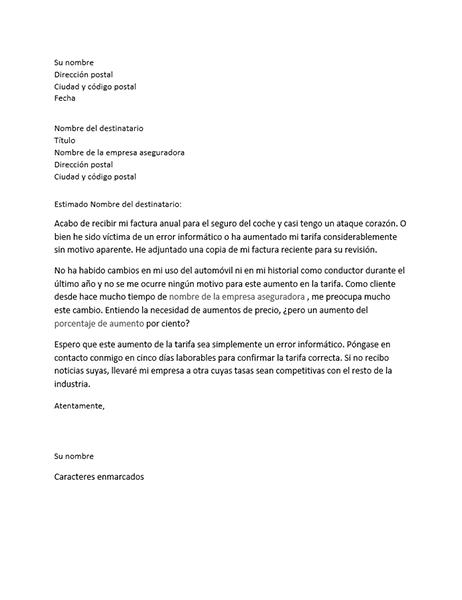 Carta de queja sobre la tarifa del seguro