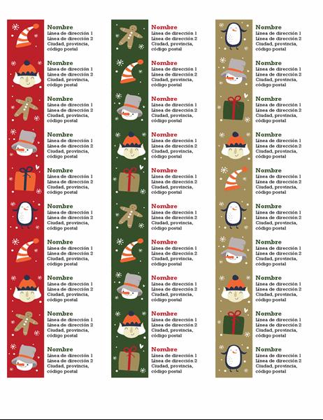 Etiquetas de dirección (diseño Espíritu navideño, 30 por página, para Avery 5160)