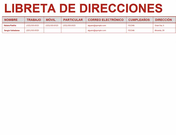 Libreta personal de direcciones