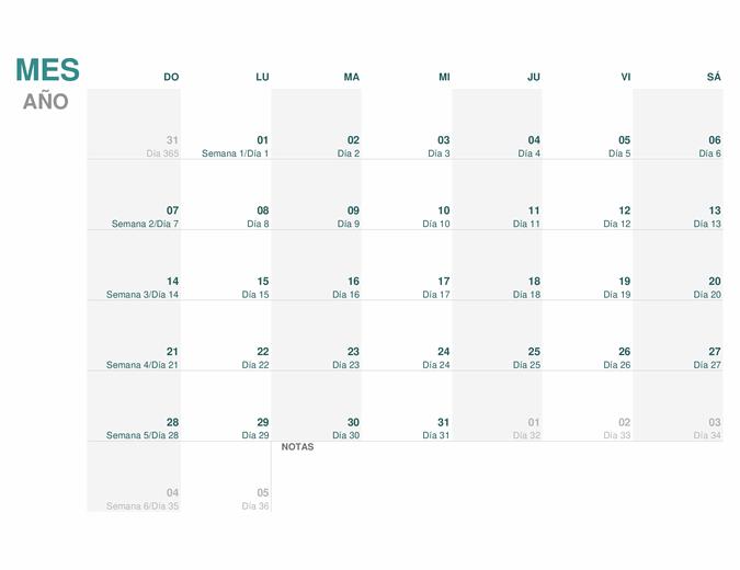 Calendario juliano (para cualquier año)