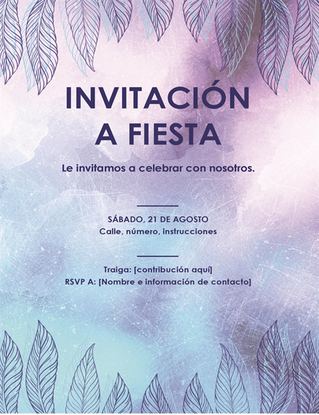 Folleto de invitación a una fiesta