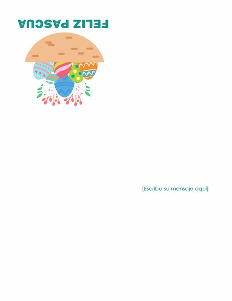 Tarjeta de Pascua (con huevos, cuatro pliegues)