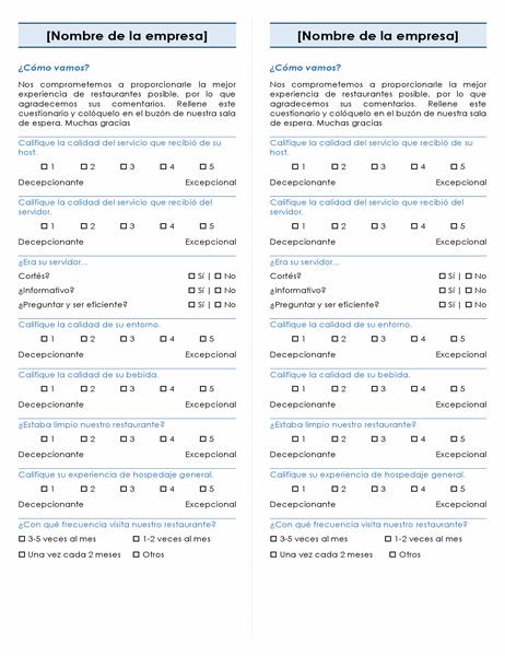 Encuesta para restaurante (2 por página)