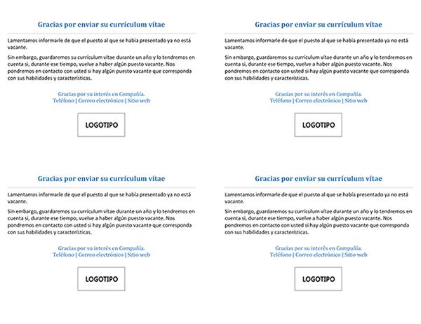Tarjeta postal para candidatos a un trabajo cuando el puesto ya no está vacante (4 por página)
