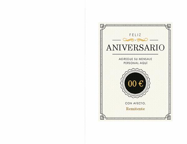 Tarjeta de nota de vale de regalo de aniversario