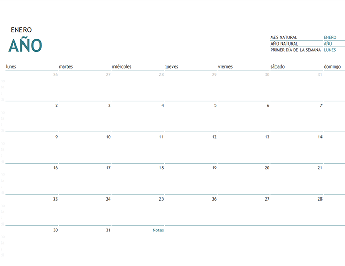 Calendario de un mes de cualquier año con notas