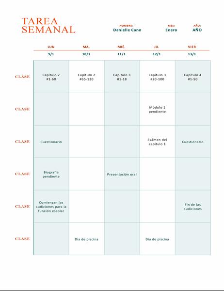 Hoja de tareas semanales (en color)