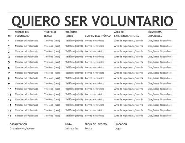 Lista de voluntarios
