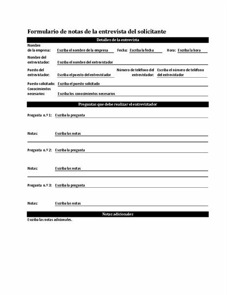 Formulario de notas de la entrevista del solicitante