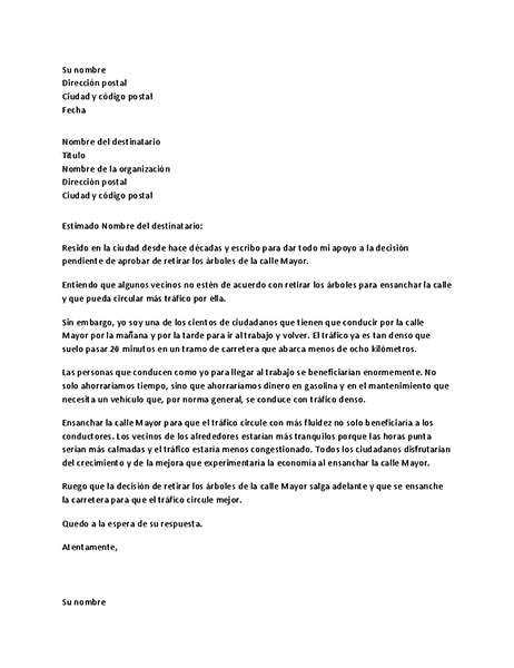 Carta de apoyo a una autoridad local