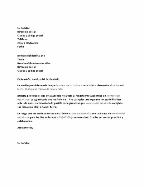 Carta en la que se notifica la futura ausencia en el centro educativo de un alumno