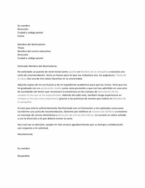 Carta para un profesor en la que se le solicita una recomendación laboral
