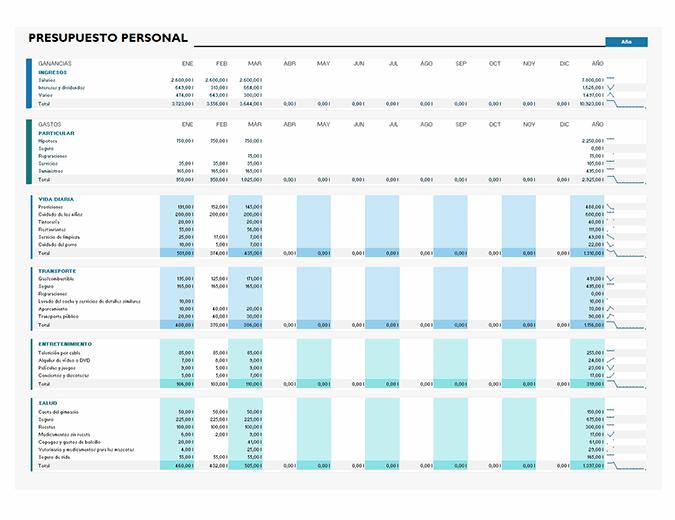 Presupuesto personal simple
