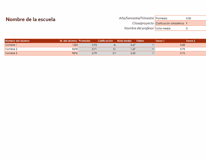 Libro de calificaciones del profesor (basado en promedios)