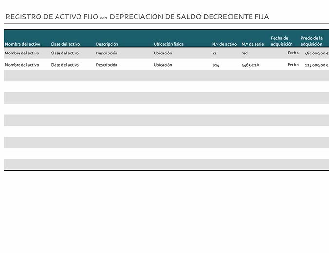 Registro de activos fijos con una depreciación de saldo descendente fija