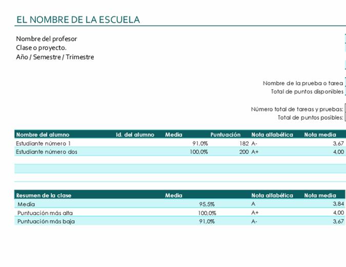 Libro de calificaciones del profesor (basado en puntos)