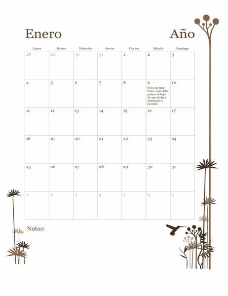 Calendario de 12 meses de colibrí (de lunes a domingo)