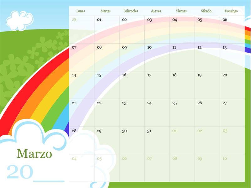 Calendario estacional ilustrado (de lunes a domingo)