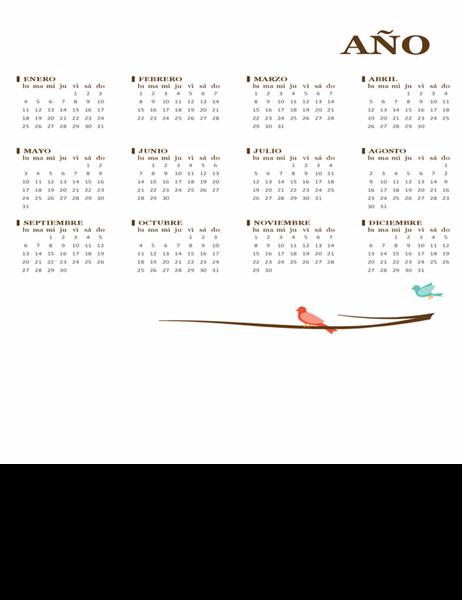 Calendario anual de pájaro (de lunes a domingo)