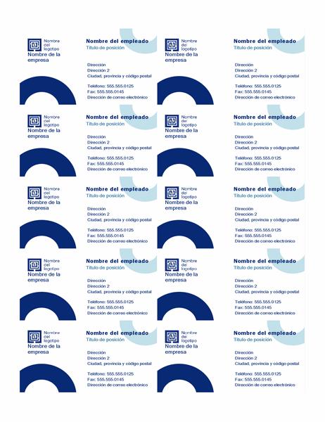 Tarjetas de presentación (diseño de arco, 10 por página)