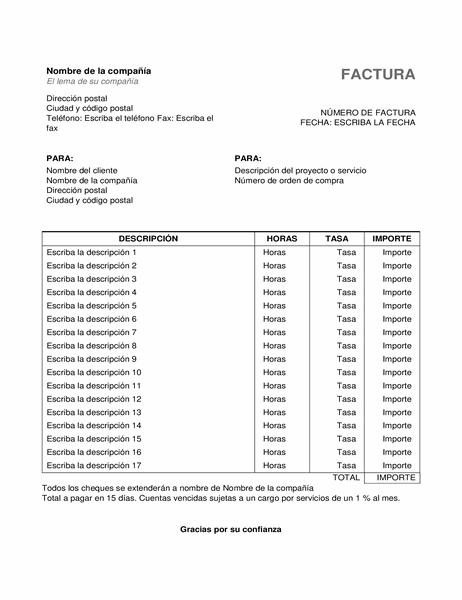 Factura de servicios con horas y tarifas