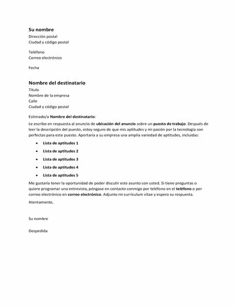 Carta de presentación en respuesta a un anuncio