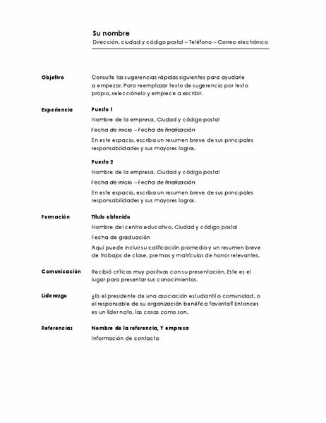 Currículum cronológico (diseño Minimalista)