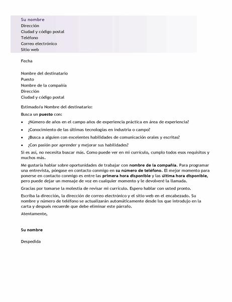 Carta de presentación para un currículum básico