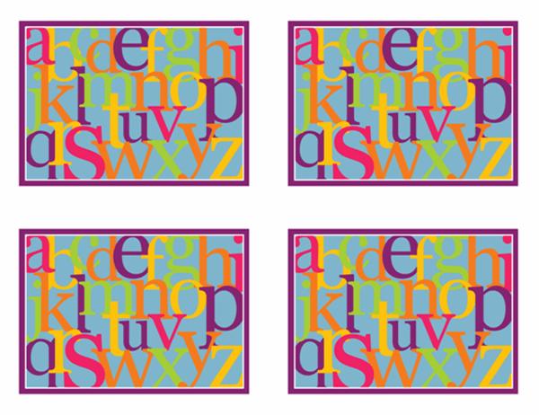 Tarjetas de aprendizaje del alfabeto (revés; funciona con Avery 3263, 8387)