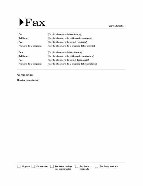 Portada de fax (diseño Origen)