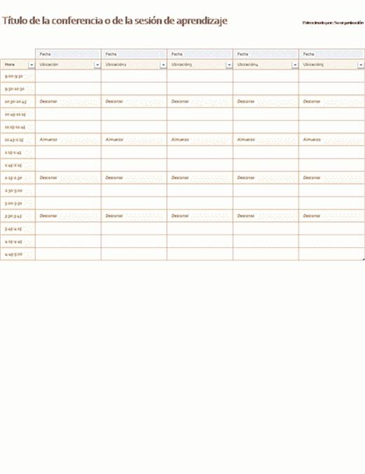 Programa de actividades para cinco días