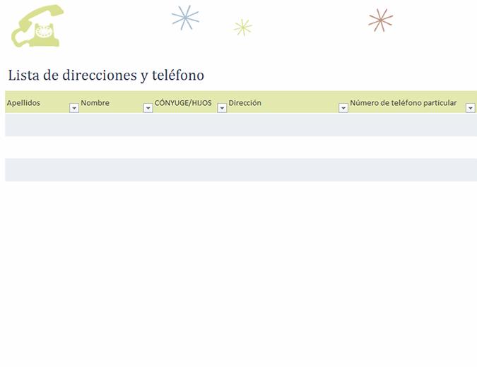 Lista de direcciones y teléfono