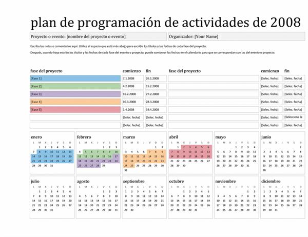 Plan de programación de actividades de 2008 (lun-dom)