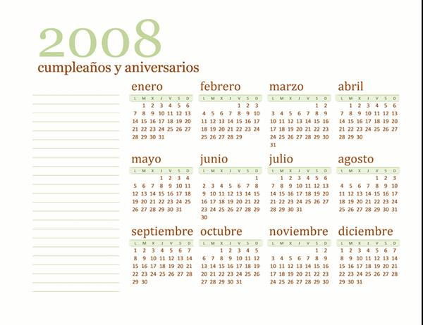 Calendario de cumpleaños y aniversario de 2008 (lun-dom)